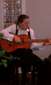 Playing Flamenco guitar at Salon Verve in Tyler, Texas